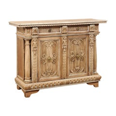 Italian Elaborately-Carved Wood Buffet Console Cabinet, Late 19th Century