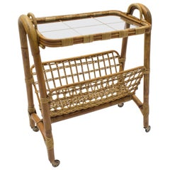 Italian Riviera Bamboo and Rattan Bar Cart Serving Trolley