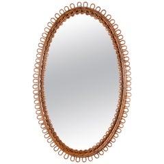Italian Riviera Franco Albini Rattan and Bamboo Oval Mirror, Italy, 1950s