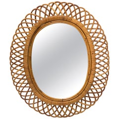 Italian Riviera Franco Albini Rattan and Bamboo Oval Mirror, Italy, 1960s