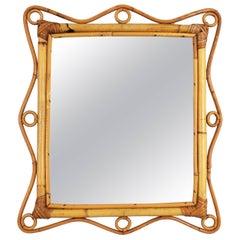 Italian Riviera Franco Albini Style Bamboo and Rattan Mirror, Italy, 1960s