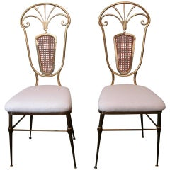 Italian Riviera Pair of Brass and Woven Wicker Chairs