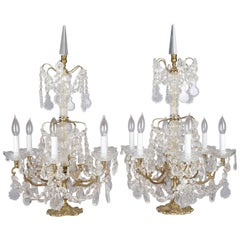 Italian Rock & Strung Bead Crystal Six-Light Branch Table Chandeliers circa 1900