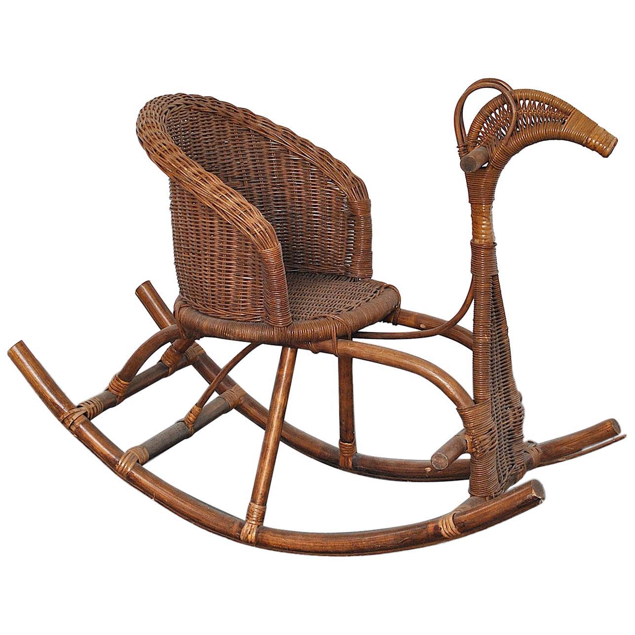 Italian Rocking Chair in Rattan