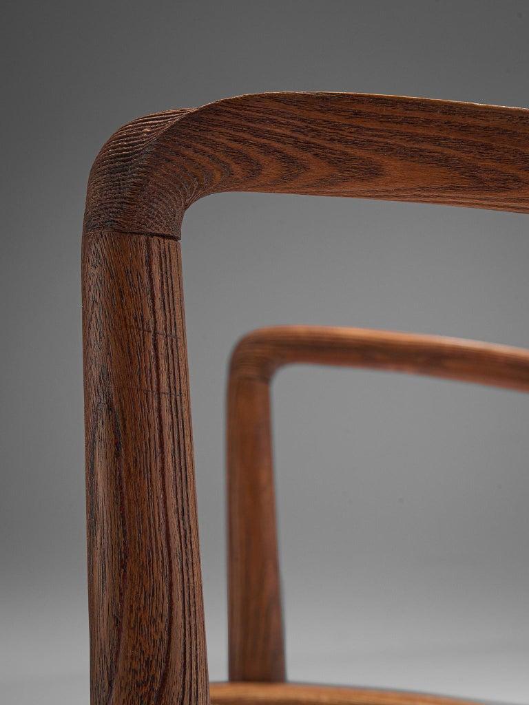 Italian Rocking Chair in Rope and Oak by Guglielmo Pecorini For Sale 3