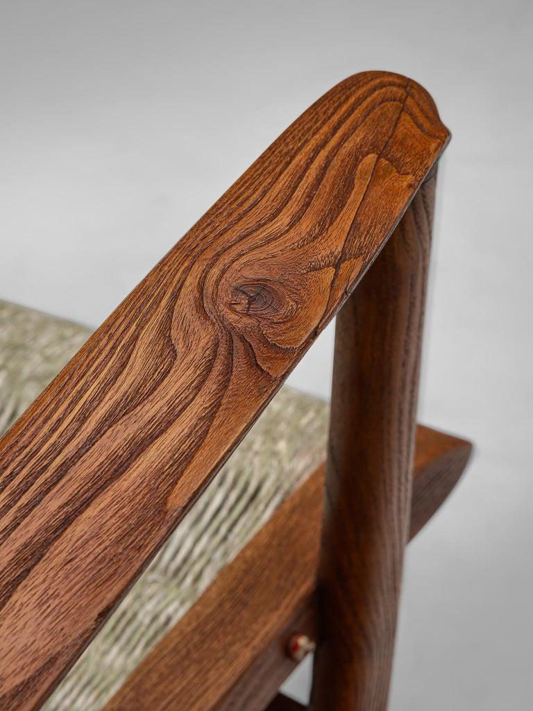 Italian Rocking Chair in Rope and Oak by Guglielmo Pecorini For Sale 4