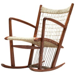 Italian Rocking Chair in Rope and Oak by Guglielmo Pecorini