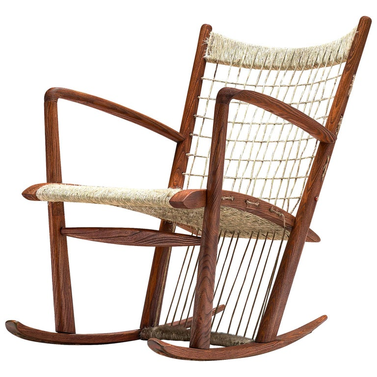 Italian Rocking Chair in Rope and Oak by Guglielmo Pecorini For Sale