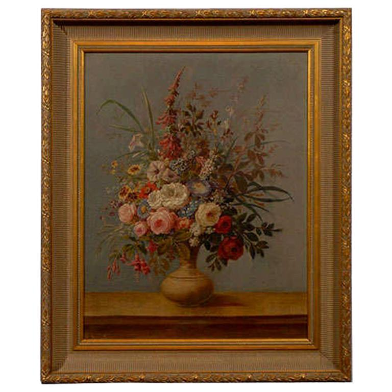 Italian Rococo 1770s Framed Still-Life Painting Depicting a Bouquet of Flowers