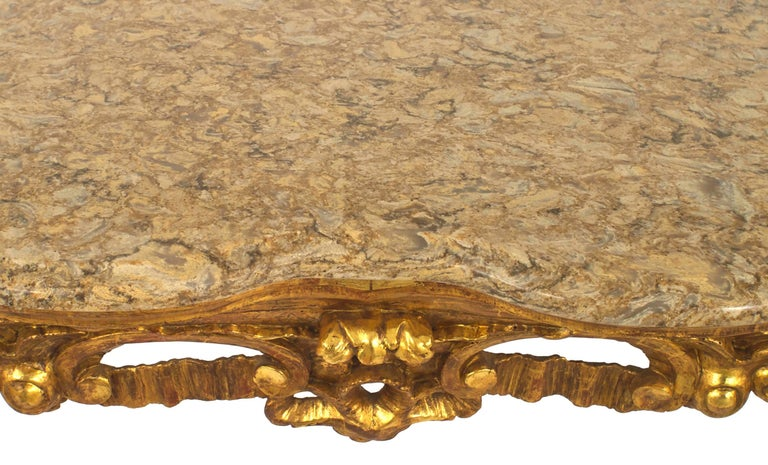 Hand-Carved Italian Rococo '18th Century' Gilt Carved Console Table For Sale