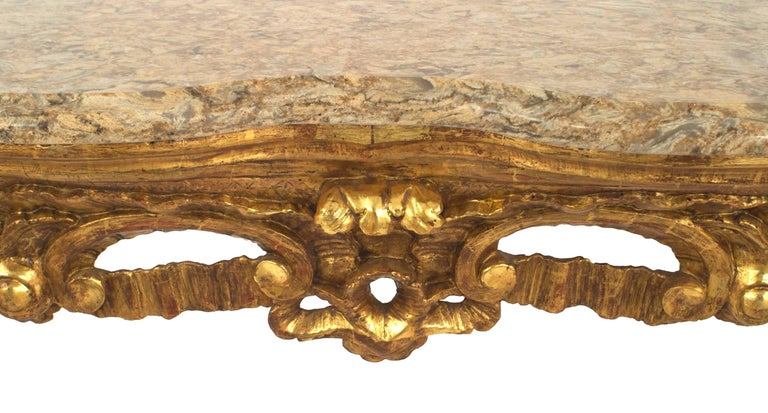 Italian Rococo '18th Century' Gilt Carved Console Table In Good Condition For Sale In New York, NY