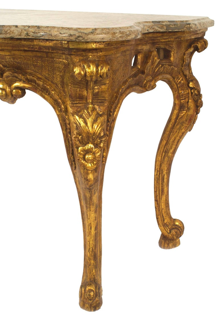 18th Century and Earlier Italian Rococo '18th Century' Gilt Carved Console Table For Sale
