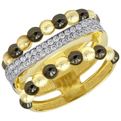 Italian Rococo Baroque Style Yellow Gold Love Ring for Her Made in Italy