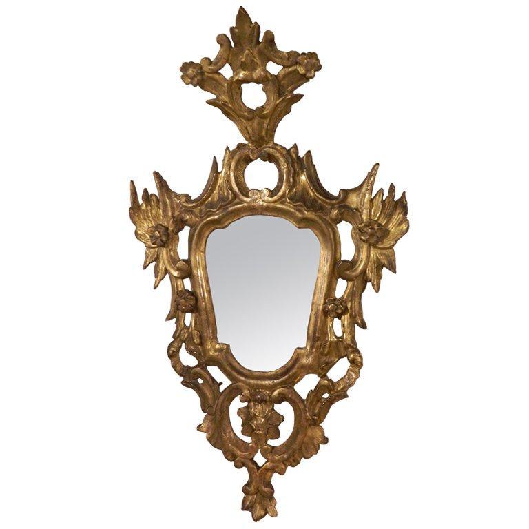 Italian Rococo Carved Gilt Wood Mirror, Mid 18th Century