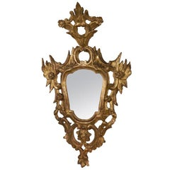 Italian Rococo Carved Gilt Wood Mirror, Mid 18th Century