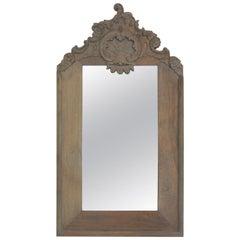Italian Rococo Carved Limed Oak Mirror