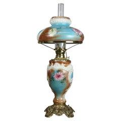 Italian Rococo Crown Milano Art Glass Gone with the Wind Lamp, circa 1890
