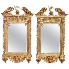 Pair of Italian Rococo Gilt Cornucopia and Floral Cherub Wall Mirrors, C. 1850