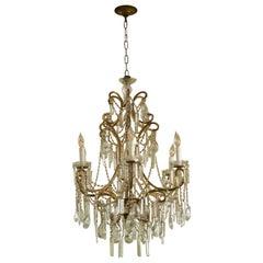 Italian Rococo Gilt Metal and Cut-Glass Six-Light Chandelier