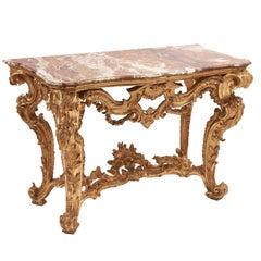 Italian Rococo Giltwood Console Table with Sicilian Jasper Top, circa 1750