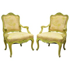 Italian Rococo Hollywood Regency Green Painted Fireside Lounge Armchairs, Pair