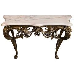 Italian Rococo Marble-Top Gilded Console
