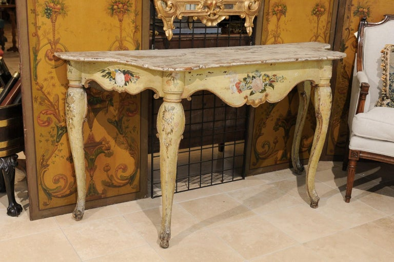 Italian Rococo Painted Console, Mid-18th Century In Good Condition For Sale In Atlanta, GA