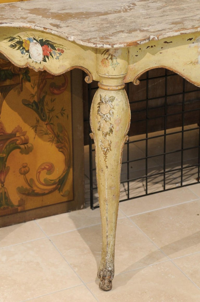 Wood Italian Rococo Painted Console, Mid-18th Century For Sale