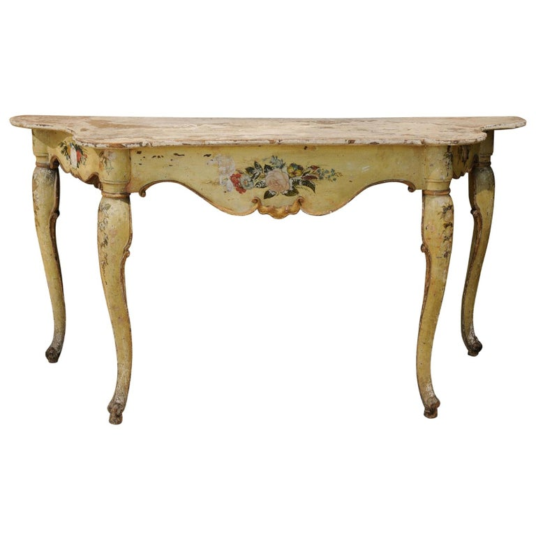 Italian Rococo Painted Console, Mid-18th Century For Sale