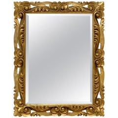 Italian Rococo Rectangular Beveled Mirror with Carved Gilt Frame (H 29 x W 23)