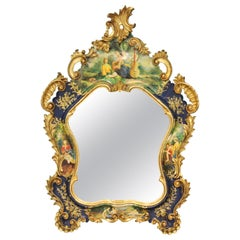 Italian Rococo Revival Style Giltwood Hand Painted Wall Mirror