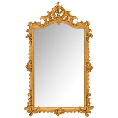 Italian Rococo St. Mid 19th Century Giltwood Mirror