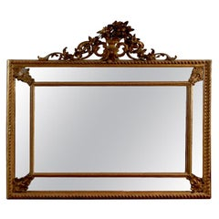 Italian Rococo Style 19th Century Giltwood Pareclose Mirror with Carved Crest