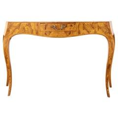 Italian Rococo Style Burlwood Veneer Ladies Writing Table Console