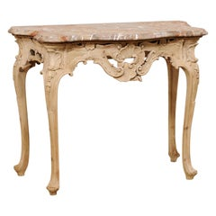 Italian Rococo-Style Carved & Bleached Console Table W/ Original Marble Top
