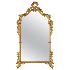 Italian Rococo Style Carved Giltwood Wall Mirror, Italy