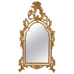 Italian Rococo Style Carved Giltwood Mirror with Mirrored Panels, circa 1940