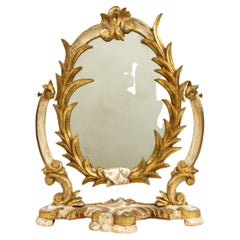 Italian Rococo Style Gilt Carved Dressing Table / Vanity Mirror