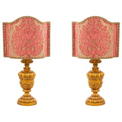 Italian Rococo Style Gilt Table Lamps