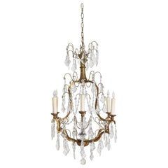Italian Rococo Style Giltwood and Gilt Iron 6-Light Chandelier, UL Wired