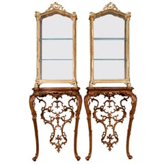 Italian Rococo-Style Giltwood Vitrines