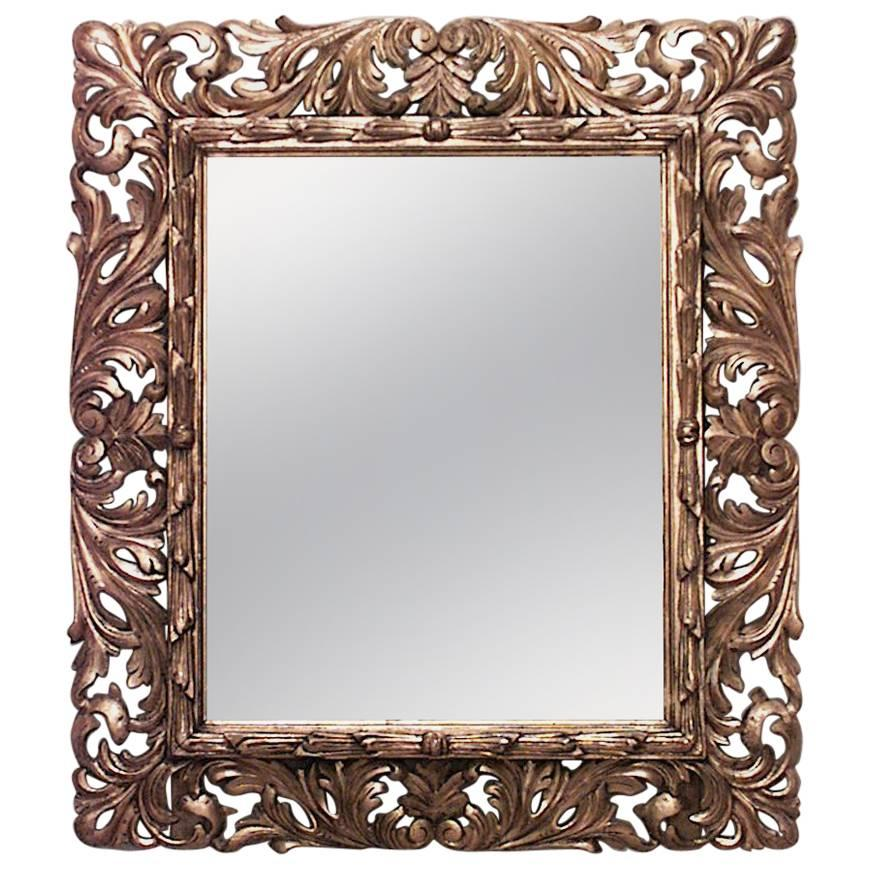 Italian Rococo Style Carved Giltwood Wall Mirror