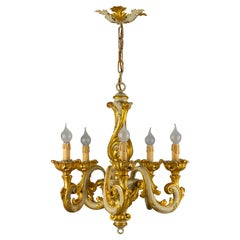 Italian Rococo Style Grey and Golden Patinated Five-Light Chandelier