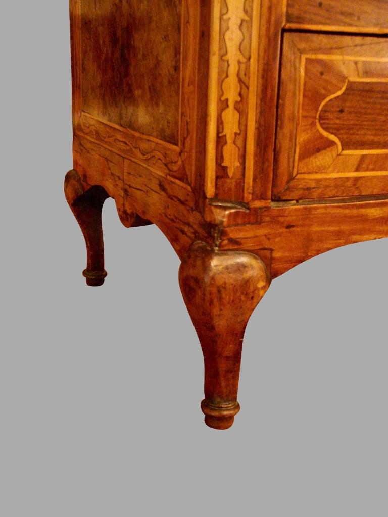 19th Century Italian Rococo Style Inlaid Walnut Miniature Chest For Sale