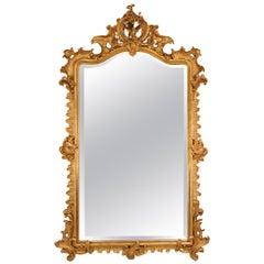 Italian Rococo Style Mid-19th Century Giltwood Mirror