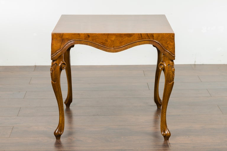 Italian Rococo Style Midcentury Walnut and Olive Wood Table with Cabriole Legs For Sale 7