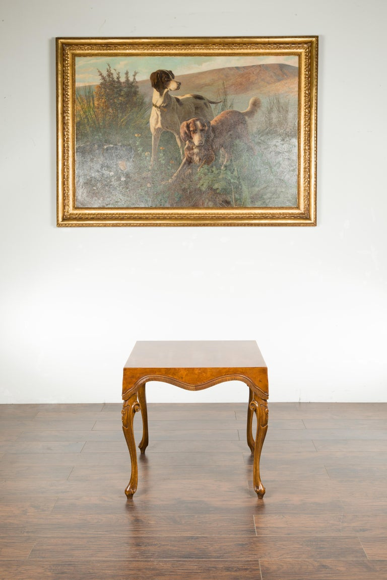 Mid-Century Modern Italian Rococo Style Midcentury Walnut and Olive Wood Table with Cabriole Legs For Sale