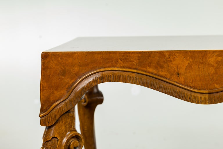 20th Century Italian Rococo Style Midcentury Walnut and Olive Wood Table with Cabriole Legs For Sale