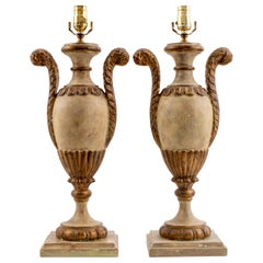 Italian Rococo Style Painted Table Lamps