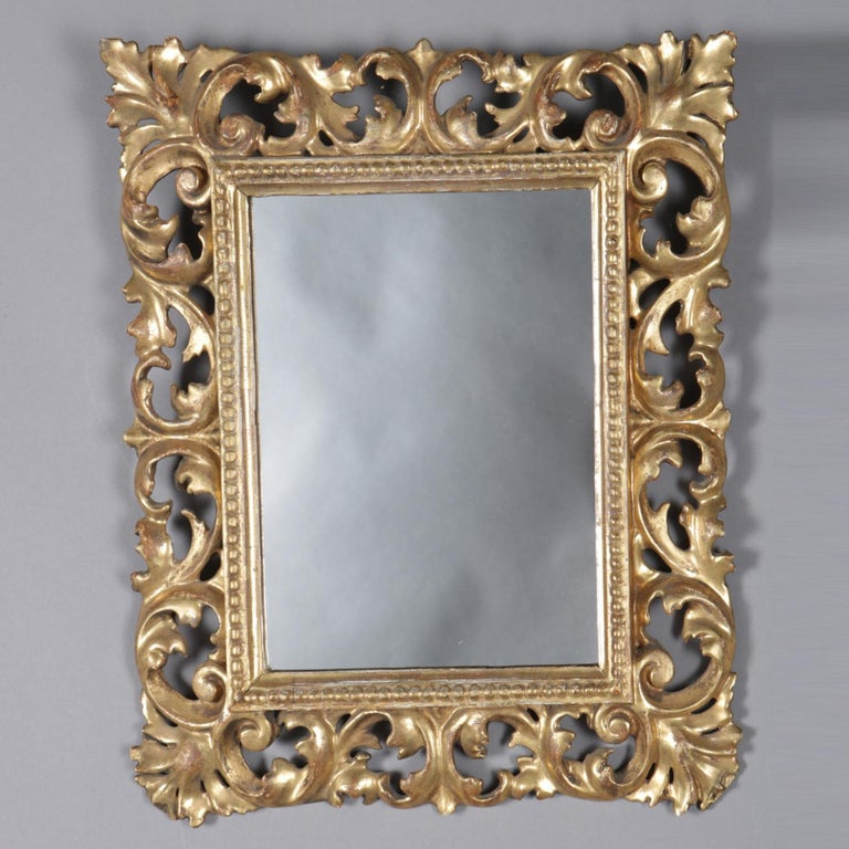 Italian Rococo Style Reticulated Foliate Giltwood Wall Mirror, 20th Century In Good Condition For Sale In Big Flats, NY